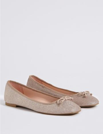 Marks & Spencer Sparkle Bow Ballerina Pumps Blush