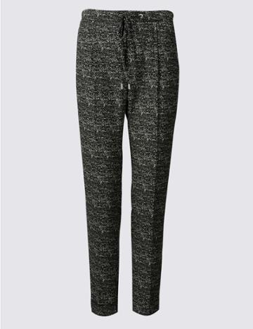 Marks & Spencer Tie Waist Textured Tapered Leg Trousers Black Mix