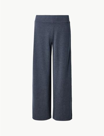 Marks & Spencer Textured Slim Leg Ankle Grazer Trousers Navy Mix