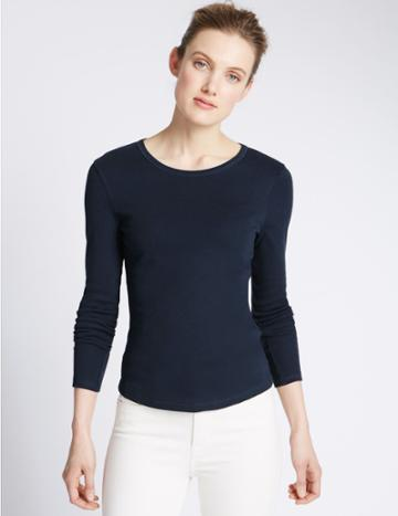 Marks & Spencer Pure Cotton Round Neck Long Sleeve T-shirt Navy