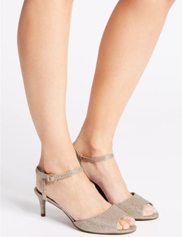 Marks & Spencer Kitten Heel Sandals Metallic
