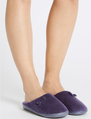 Marks & Spencer Spotted Bow Mule Slippers Purple