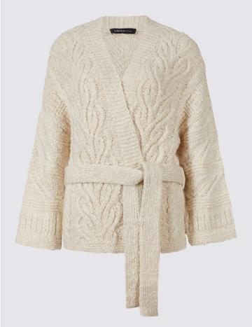 Marks & Spencer Cotton Blend Textured Long Sleeve Cardigan Cream