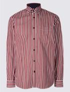 Marks & Spencer Pure Cotton Striped Shirt With Pocket Burgundy Mix