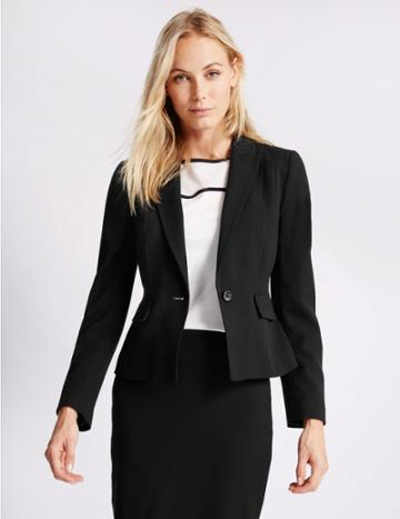 Marks & Spencer Panel Detail Short Blazer Black