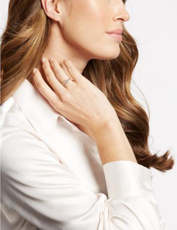 Marks & Spencer Gold Plated Pave Shoulder Ring Gold Mix
