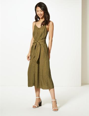 Marks & Spencer Jacquard Tie Front Waisted Midi Dress Hunter Green