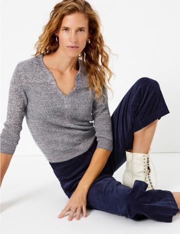Marks & Spencer Notch Neck Half Sleeve Jumper Multi