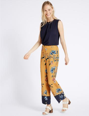 Marks & Spencer Printed Contrasting Hem Wide Leg Trousers Yellow Mix