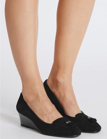 Marks & Spencer Wide Fit Suede Wedge Heel Court Shoes Black