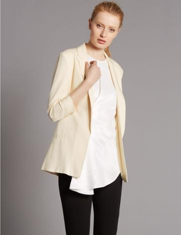 Marks & Spencer Ruched Sleeve Blazer Cream