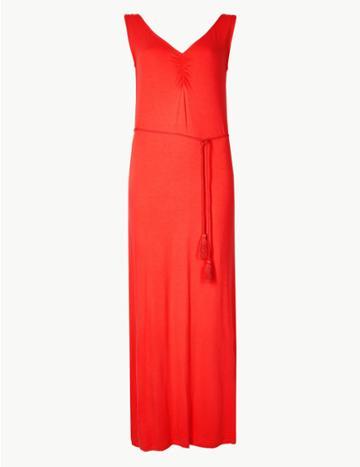 Marks & Spencer Ruched Front Slip Maxi Dress Flame