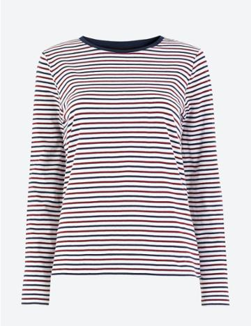 Marks & Spencer Pure Cotton Striped Straight Fit T-shirt White Mix