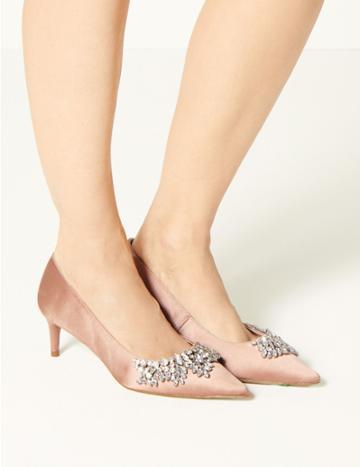 Marks & Spencer Satin Kitten Heel Trim Court Shoes Blush
