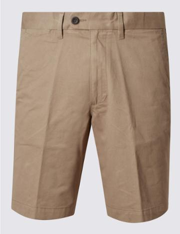 Marks & Spencer Pure Cotton Shorts With Adjustable Waist Putty