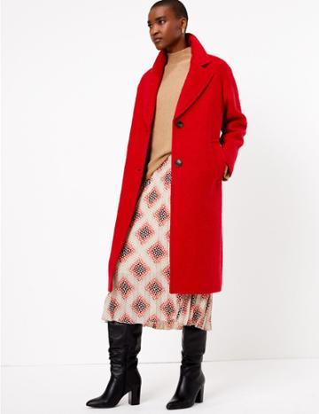Marks & Spencer Printed Fit & Flare Midi Skirt Ecru Mix
