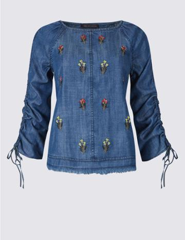 Marks & Spencer Petite Embroidered Round Neck Blouse Denim Mix