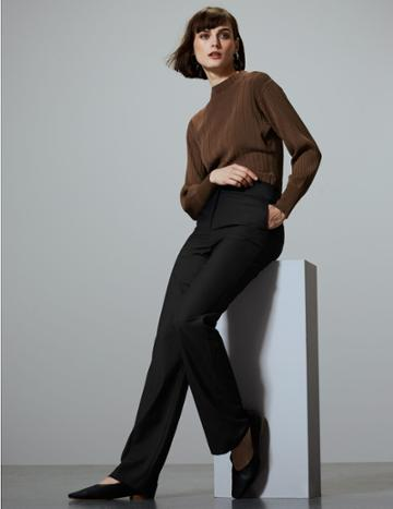 Marks & Spencer Wool Blend Trousers With Silk Black