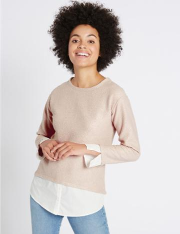 Marks & Spencer Boucle Foil Mock Hem Long Sleeve Top Blush
