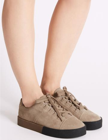 Marks & Spencer Suede Lace-up D-ring Trainers Stone