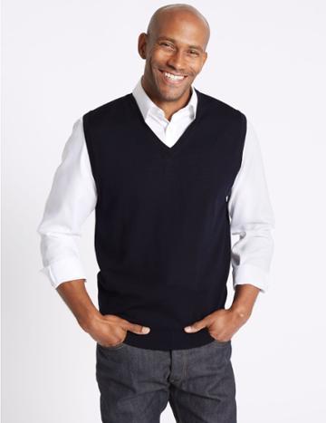 Marks & Spencer Pure Merino Wool Sleeveless Jumper Navy