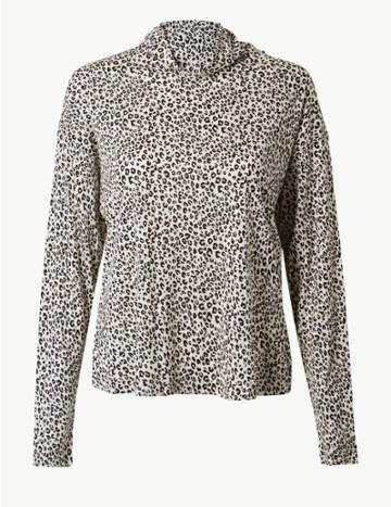 Marks & Spencer Animal Print Funnel Neck Long Sleeve Top Ivory Mix