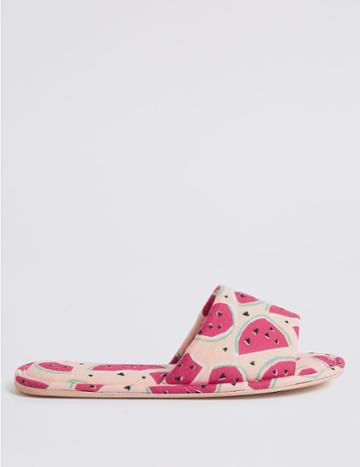 Marks & Spencer Watermelon Print Mule Slippers Pink Mix