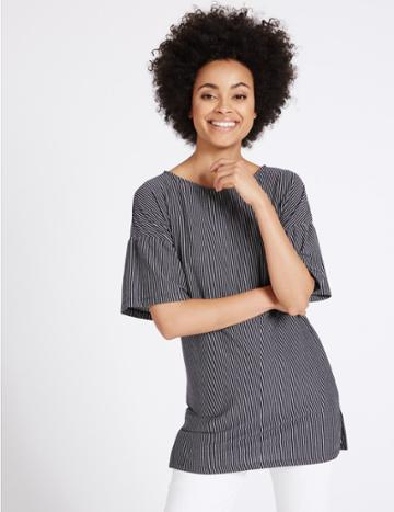 Marks & Spencer Striped Longline Half Sleeve Tunic Navy Mix