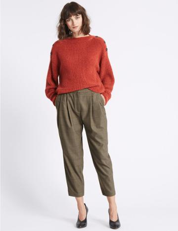 Marks & Spencer Checked Tapered Leg Trousers Grey