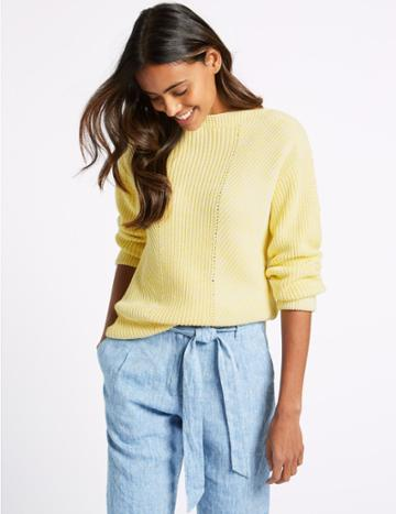 Marks & Spencer Pure Cotton Cable Knit Slash Neck Jumper Mimosa