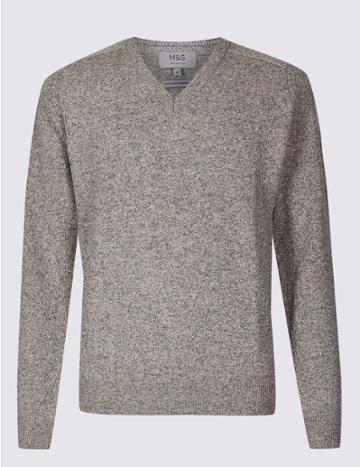 Marks & Spencer Pure Extra Fine Lambswool V-neck Jumper Putty