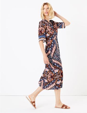 Marks & Spencer Scarf Placement Print Midi Shirt Dress Multi