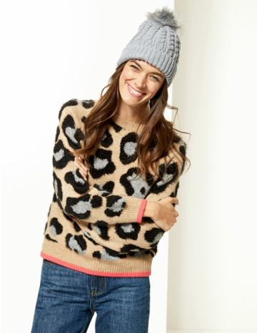 Marks & Spencer Faux Fur Bobble Beanie Hat Grey