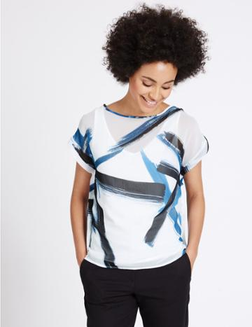 Marks & Spencer Brush Print Woven Layer T-shirt Blue Mix