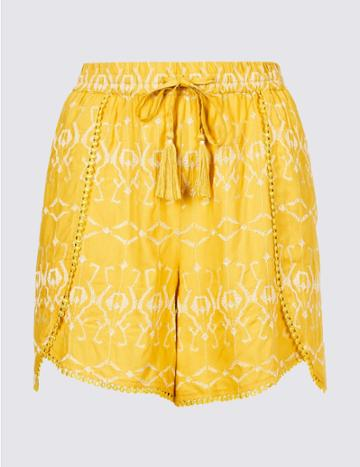 Marks & Spencer Embroidered Casual Shorts Yellow Mix