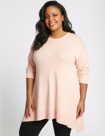 Marks & Spencer Curve Ribbed Round Neck Longline Jumper Blush Pink