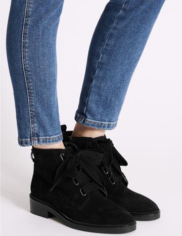 Marks & Spencer Suede Block Heel Ring Detail Ankle Boots Black