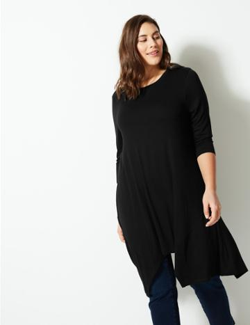 Marks & Spencer Curve Round Neck 3/4 Sleeve Tunic Black