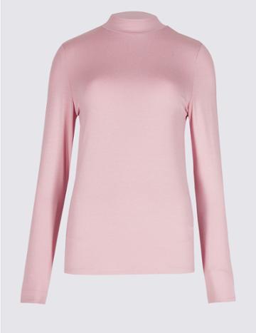 Marks & Spencer Funnel Neck Long Sleeve Top Pink