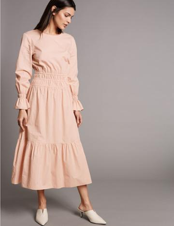 Marks & Spencer Pure Cotton Ruched Waist Midi Dress Blush Pink