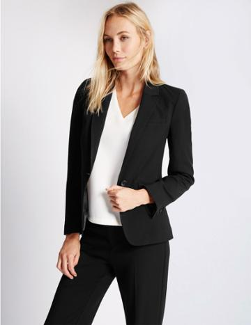 Marks & Spencer 1 Button Longline Jacket Black