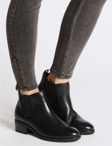 Marks & Spencer Wide Fit Leather Chelsea Ankle Boots Black