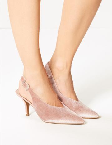 Marks & Spencer Stiletto Heel High Cut Slingback Court Shoes Blush