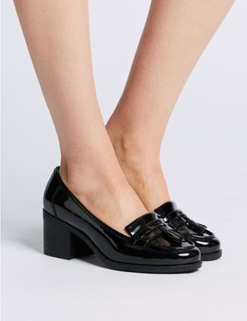 Marks & Spencer Wide Fit Block Heel Fringe Loafers Navy