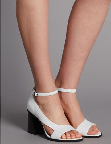 Marks & Spencer Leather Angular Heel Asymmetric Sandals White