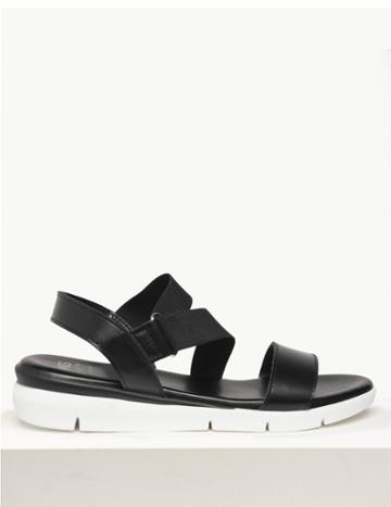 Marks & Spencer Leather Asymmetric Elastic Sandals Black