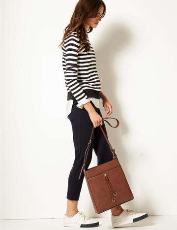 Marks & Spencer Faux Leather Ring Detail Messenger Bag Tan