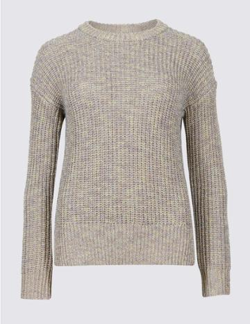 Marks & Spencer Textured Round Neck Long Sleeve Jumper Multi