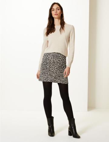 Marks & Spencer Animal Print Jersey A-line Mini Skirt Natural Mix