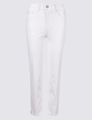 Marks & Spencer Sculpt & Lift Roma Rise Cropped Jeans Soft White